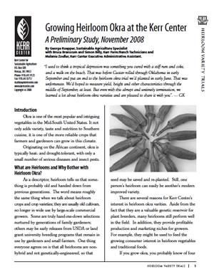 Heirloom Variety Report 2008: Growing Heirloom Okra at the Kerr Center
