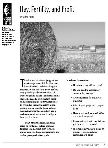 Hay, Fertility, and Profit