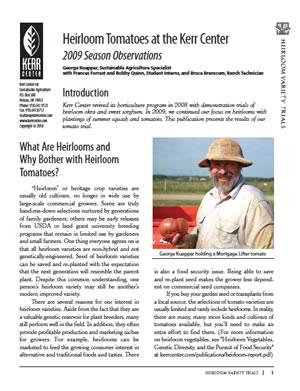 Heirloom Variety Trial Report 2009: Tomatoes