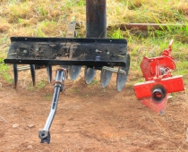 Disk harrow (L) and moldboard plow (R) for the BCS walk-behind tractor