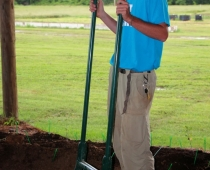 2012 intern Connor McClelland demonstrates the use of a broadfork, used to renovate established biointensive garden beds