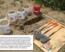 The beginning of a double-dug bed using the biointensive method.