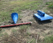 """Caption: sickle-bar (L, 45"""") and brush (R) mowers for the BCS walk-behind tractor"""