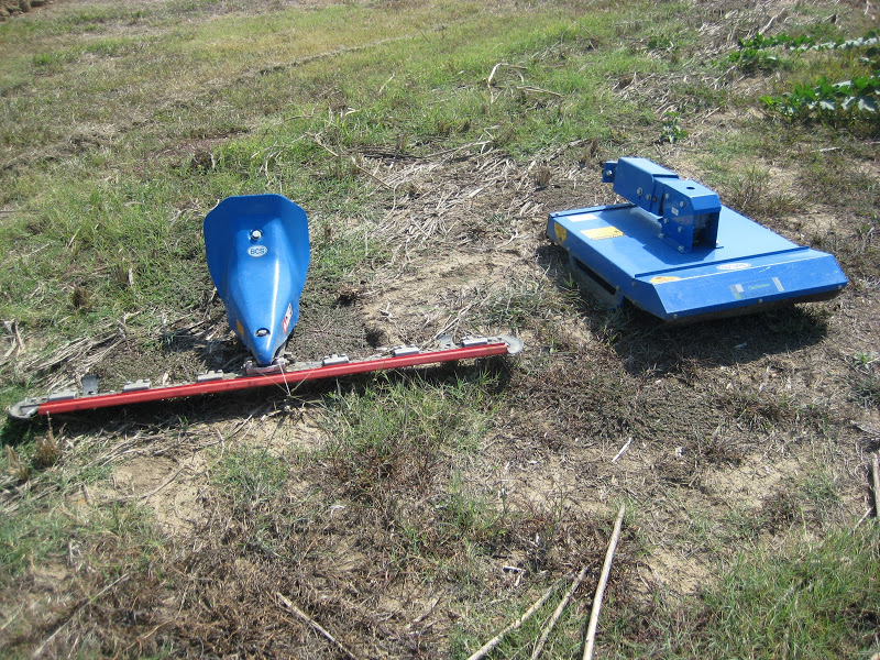 """Caption: sickle-bar (L, 45"""") and brush (R) mowers for the BCS walk"""