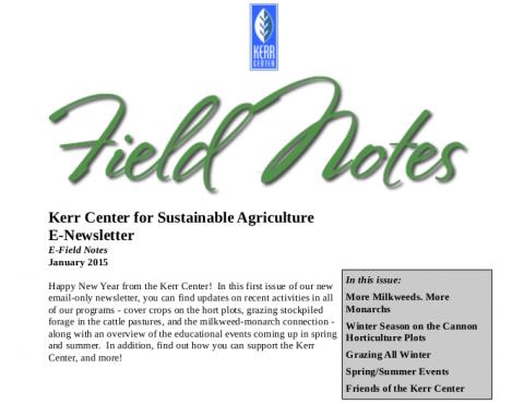 Field Notes – January 2015