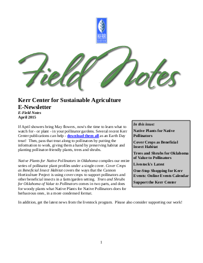 Field Notes – April 2015