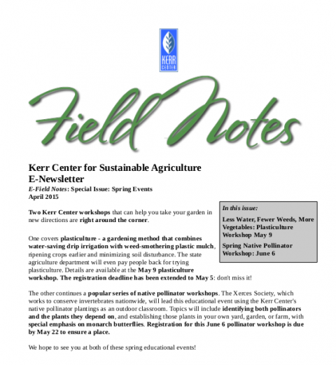 Field Notes – April 2015 (Special Issue)
