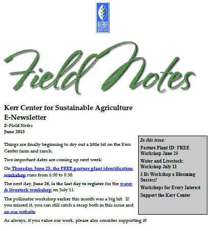 Field Notes – June 2015