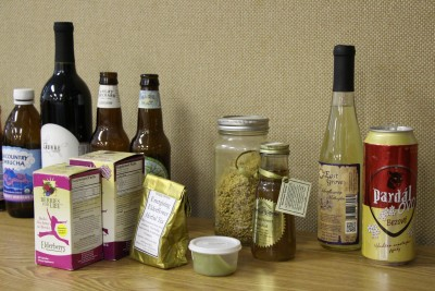 A selection of elderberry products on display at the September 2015 elderberry workshop.
