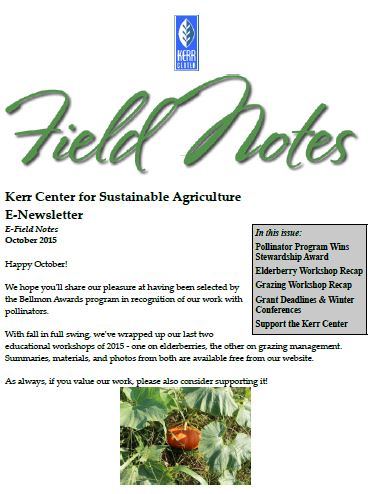 Field Notes – October 2015