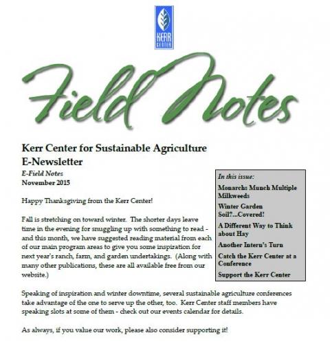 Field Notes – November 2015
