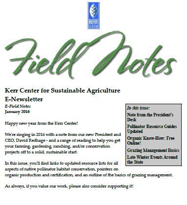Field Notes – January 2016
