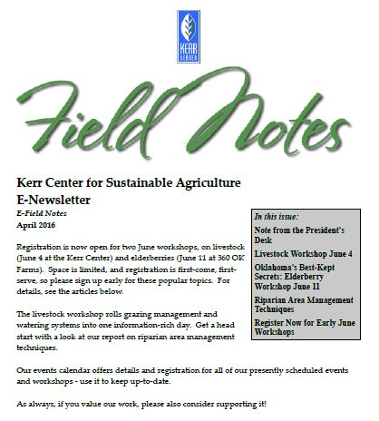 Field Notes – April 2016