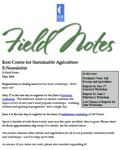Field Notes – May 2016