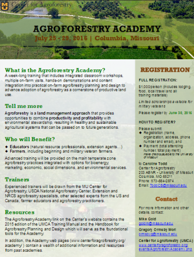 4th Annual Agroforestry Academy @ Columbia | Missouri | United States