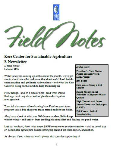 Field Notes – October 2016