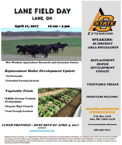 Lane Field Day @ Wes Watkins Agriculture Research and Extension Center (Lane) | Lane | Oklahoma | United States