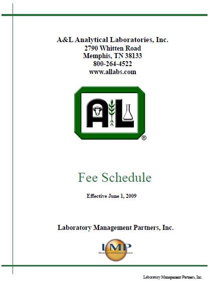 A&L Soil Analysis Fee Schedule