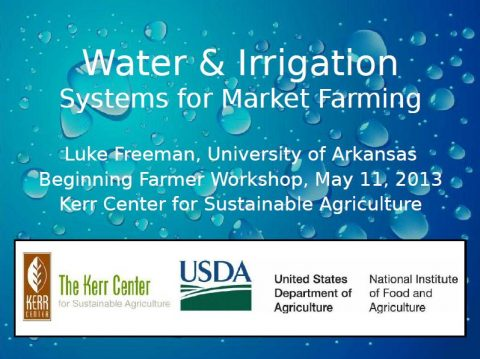 Water and Irrigation Systems for Market Farming