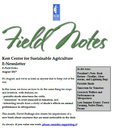 Field Notes – August 2017