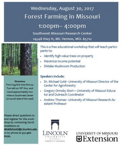 Workshop: Forest Farming in Missouri @ Mt. Vernon, MO (Southwest Missouri Research Center) | Mount Vernon | Missouri | United States