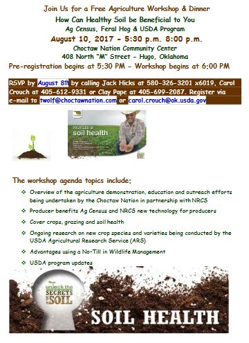 Workshop: How Healthy Soil Can Be Beneficial to You @ Hugo (Choctaw Nation Community Center) | Hugo | Oklahoma | United States
