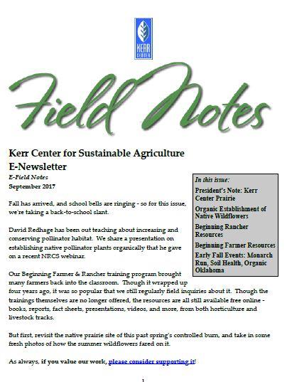 Field Notes – September 2017