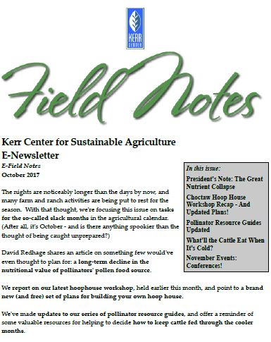Field Notes – October 2017