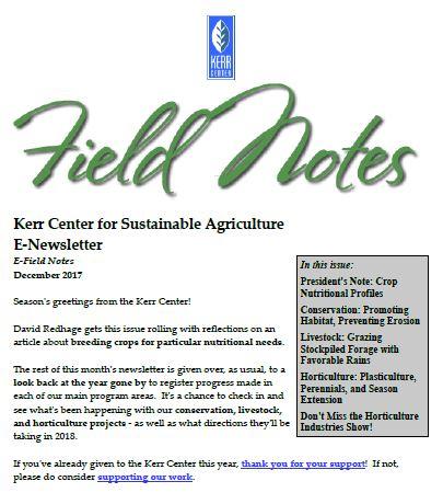 Field Notes – December 2017