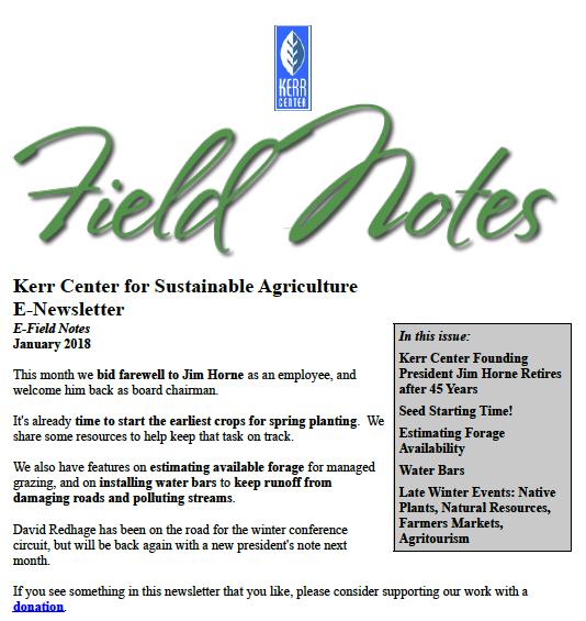 Field Notes – January 2018