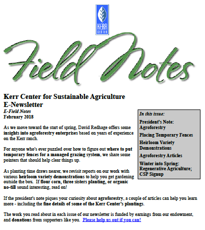 Field Notes – February 2018