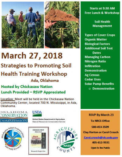 Strategies to Promote Soil Health Training Workshop @ Ada | Ada | Oklahoma | United States