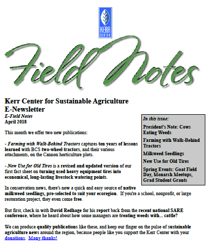 Field Notes – April 2018