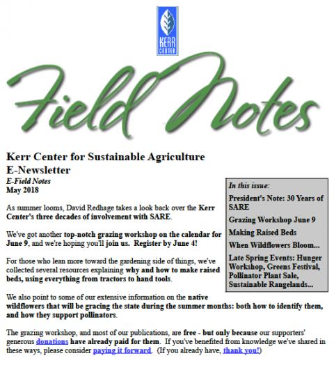Field Notes – May 2018