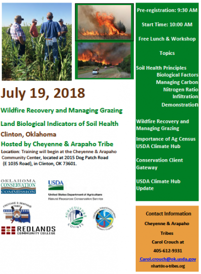 Workshop: Wildfire Recovery and Managing Grazingland Biological Indicators of Soil Health @ Clinton (Cheyenne & Arapaho Community Center)