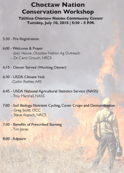 Workshop: Soil Health and Prescribed Burning @ Talihina (Choctaw Nation Community Center)