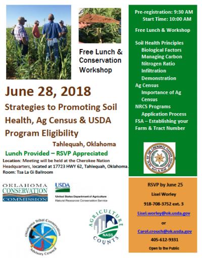 Workshop: Strategies for Promoting Soil Health, Ag Census, & USDA Program Eligibility @ Tahlequah (Cherokee Nation Headquarters)