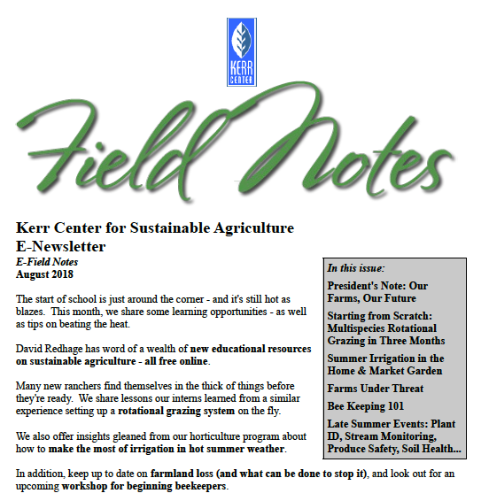 Field Notes – August 2018