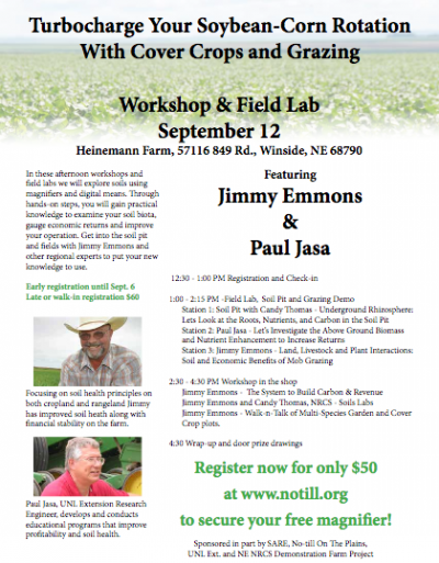 Workshop: Turbo Charge Your Corn and Soybean Rotation with Cover Crops and Grazing @ Winside, NE (Heineman Farm)