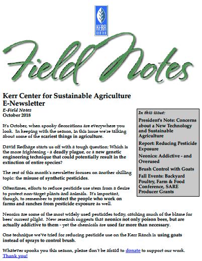 Field Notes – October 2018