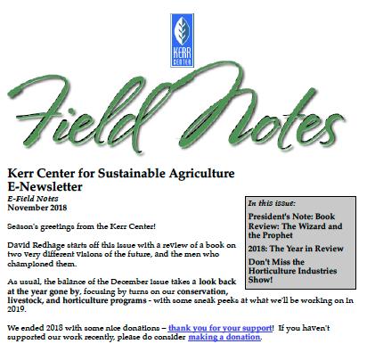 Field Notes – December 2018