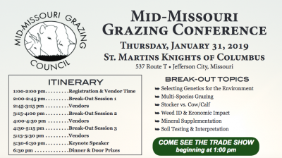 Mid-Missouri Grazing Conference @ Jefferson City, MO (St. Martins K of C Hall)