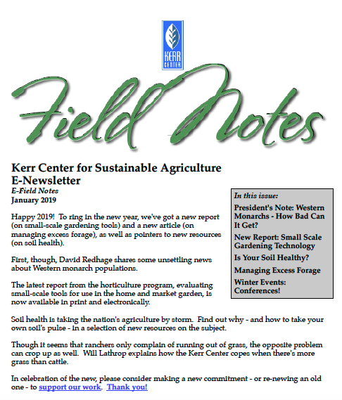 Field Notes – January 2019