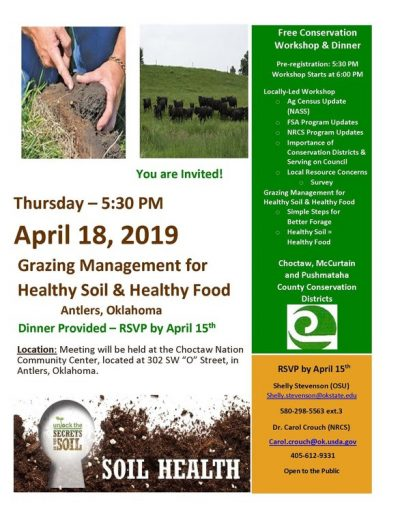 Grazing Management for Healthy Soil & Healthy Food @ Antlers (Choctaw Nation Community Center)