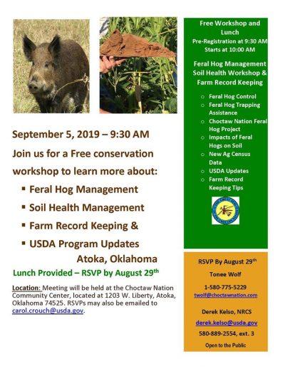 Workshop: Feral Hog Management @ Atoka (Choctaw Nation Community Center)