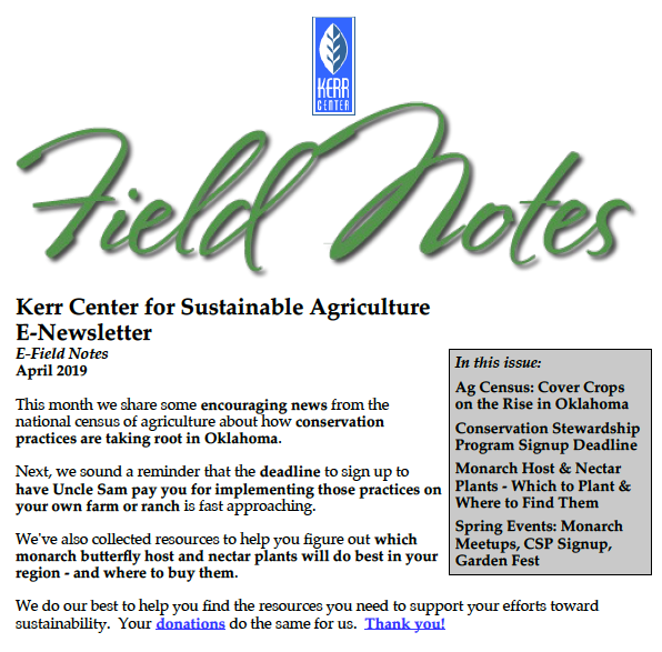 Field Notes – April 2019