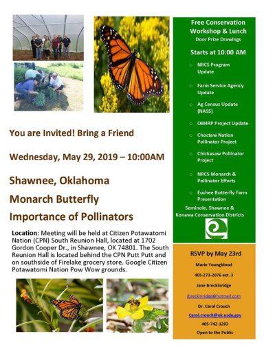 Workshop: Monarch Butterfly, Importance of Pollinators @ Shawnee (Citizen Potawatomi Nation (CPN) South Reunion Hall)