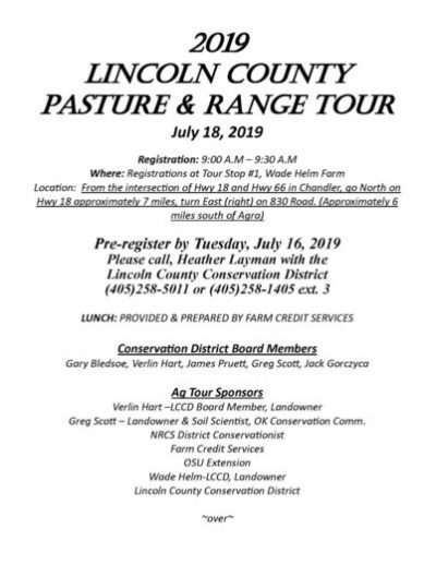 Lincoln County Pasture & Range Tour @ Near Chandler