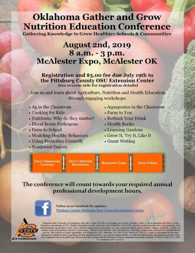 Annual Gather and Grow Nutrition Education Conference @ McAlester (McAlester Expo)