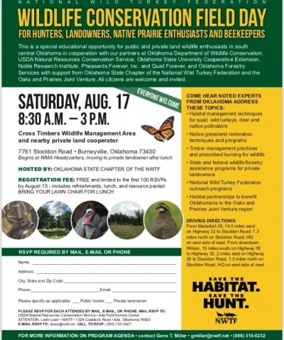 Field Day: Wildlife Conservation @ Burneyville (Cross Timbers Wildlife Management Area)